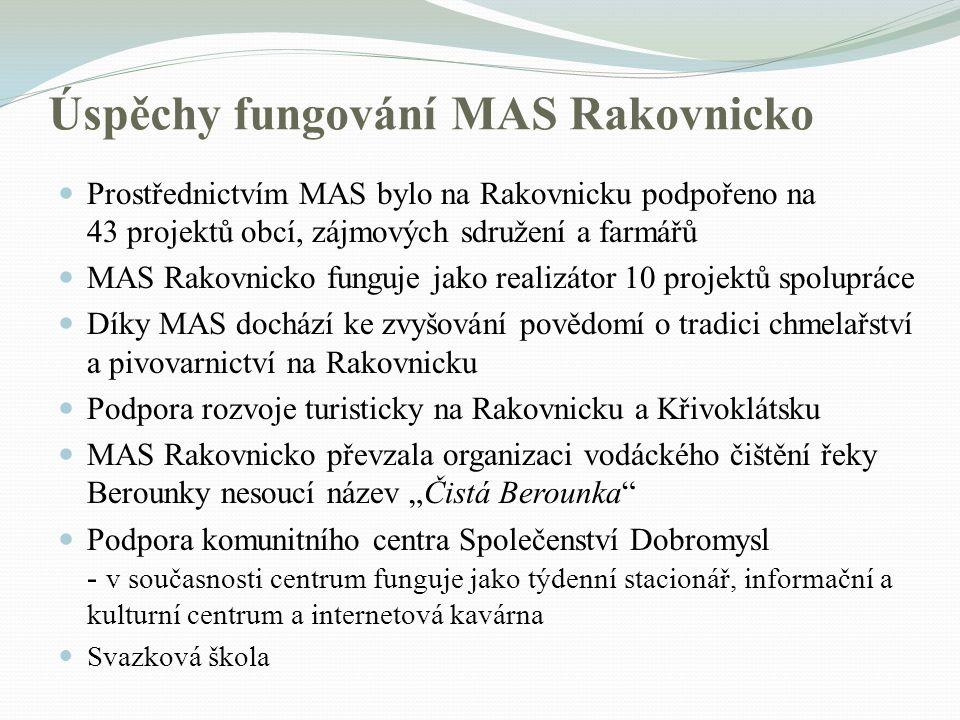 Úspěchy fungování MAS Rakovnicko Prostřednictvím MAS bylo na Rakovnicku podpořeno na 43 projektů obcí, zájmových sdružení a farmářů MAS Rakovnicko fun