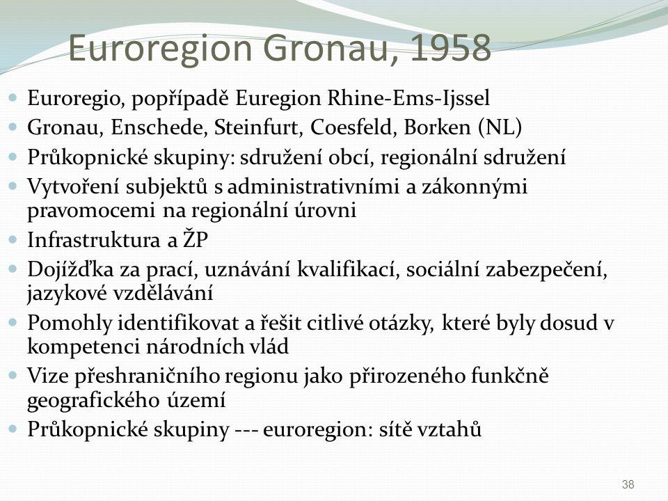 Euroregion Gronau, 1958 Euroregio, popřípadě Euregion Rhine-Ems-Ijssel Gronau, Enschede, Steinfurt, Coesfeld, Borken (NL) Průkopnické skupiny: sdružen