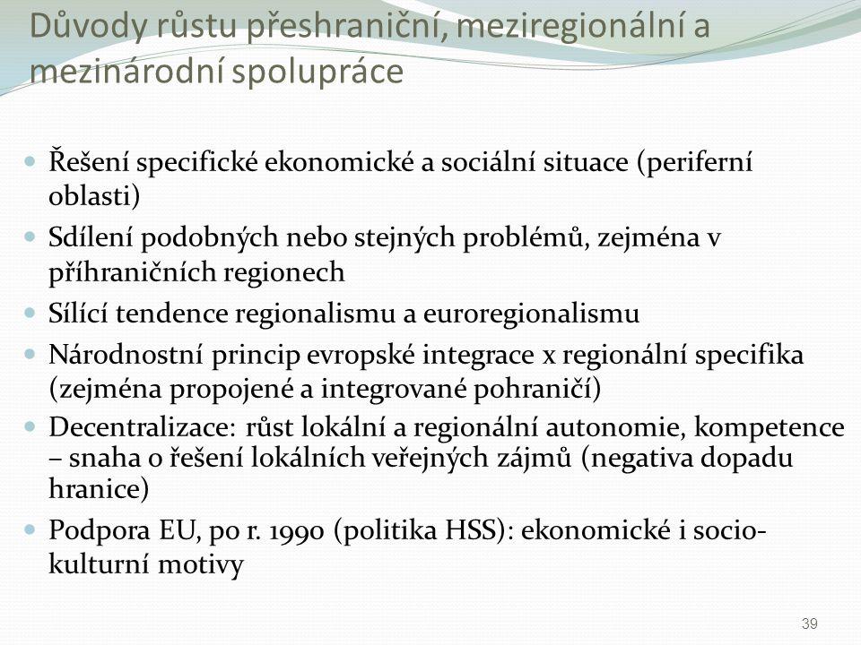 Důvody růstu přeshraniční, meziregionální a mezinárodní spolupráce Řešení specifické ekonomické a sociální situace (periferní oblasti) Sdílení podobný