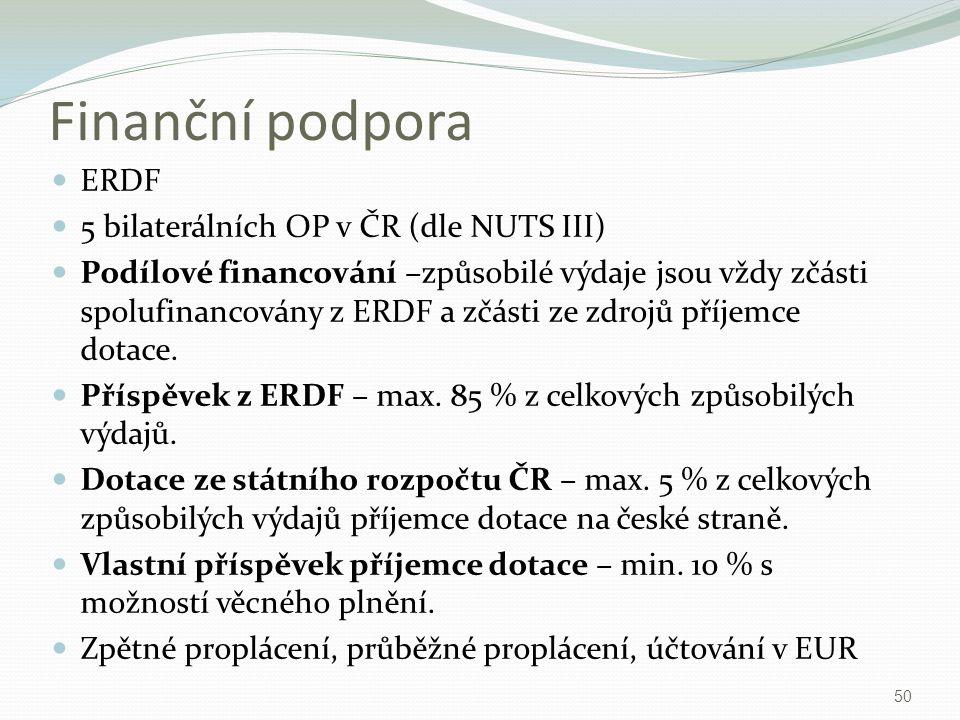 Finanční podpora ERDF 5 bilaterálních OP v ČR (dle NUTS III) Podílové financování –způsobilé výdaje jsou vždy zčásti spolufinancovány z ERDF a zčásti