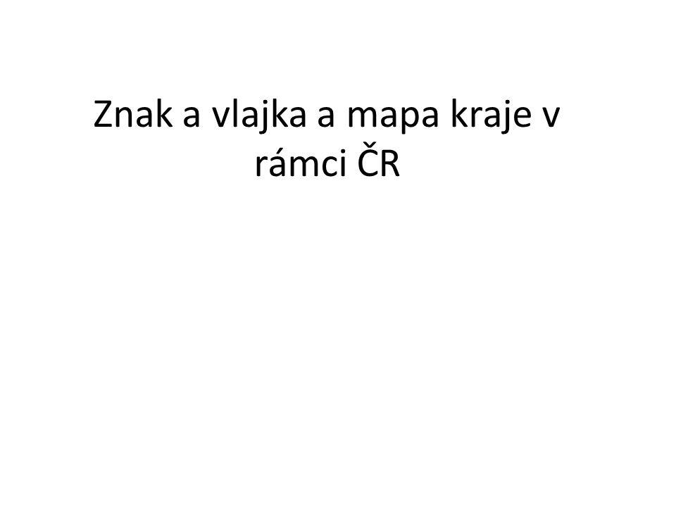 Znak a vlajka a mapa kraje v rámci ČR