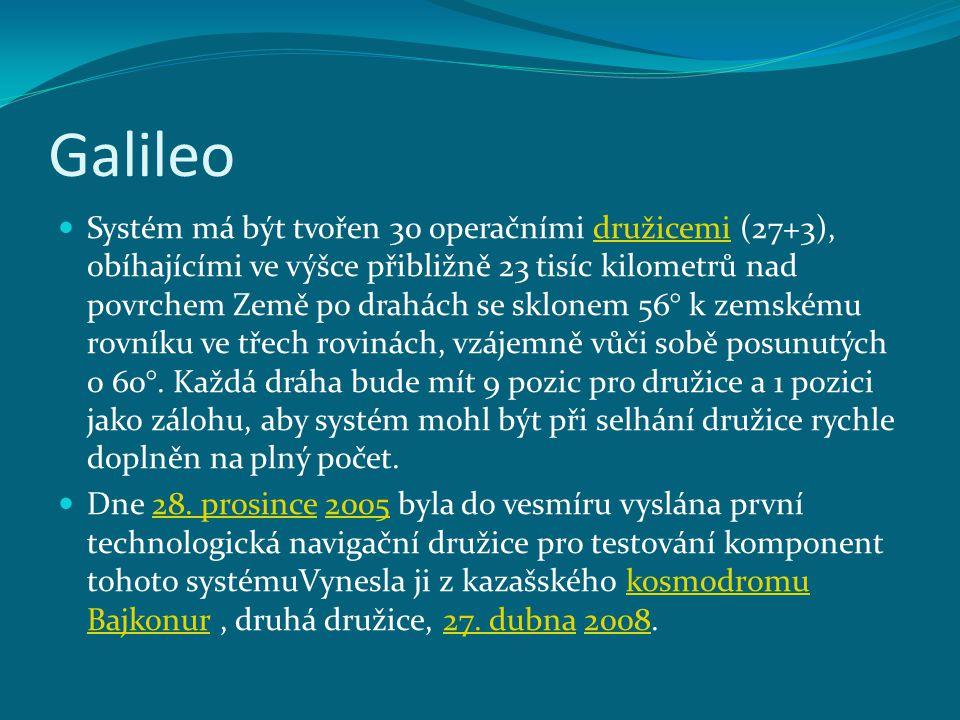 Galileo Systém má být tvořen 30 operačními družicemi (27+3), obíhajícími ve výšce přibližně 23 tisíc kilometrů nad povrchem Země po drahách se sklonem
