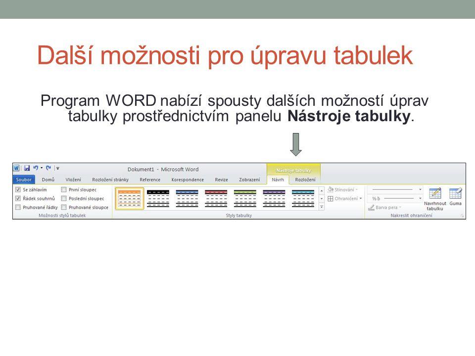 Další možnosti pro úpravu tabulek Program WORD nabízí spousty dalších možností úprav tabulky prostřednictvím panelu Nástroje tabulky.