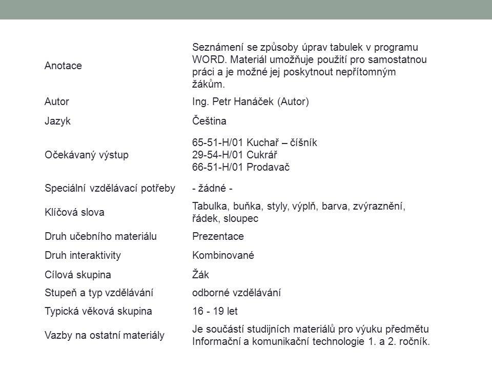 Anotace Seznámení se způsoby úprav tabulek v programu WORD. Materiál umožňuje použití pro samostatnou práci a je možné jej poskytnout nepřítomným žáků