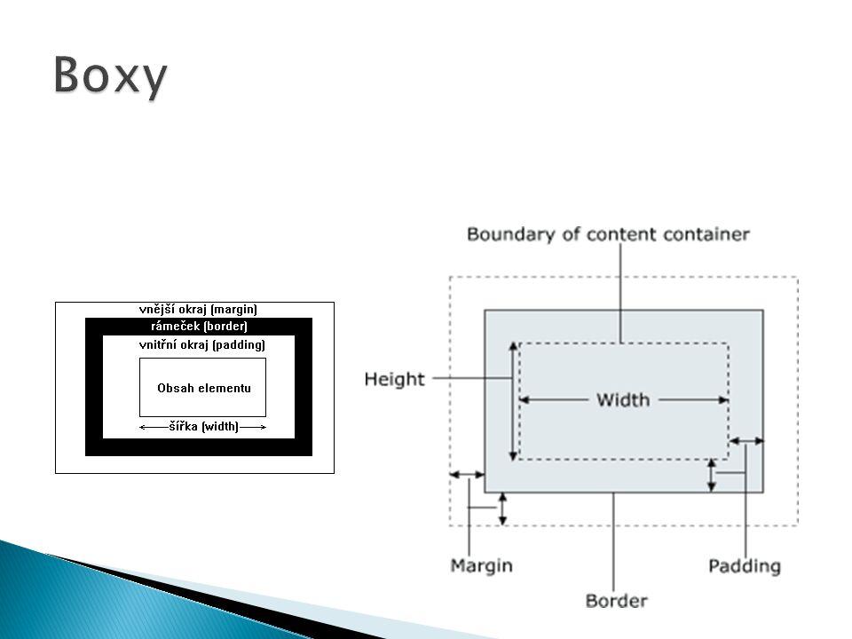  ovlivňuje šířku, barvu a styl orámování  sdružená vlastnost border umožňuje nastavit najednou shodnou šířku, barvu a styl všem čtyřem orámováním boxu  nelze nastavit sdruženou vlastností, narozdíl od margin a padding, různý vzhled orámování na jednotlivých stranách  zápis border:1px solid red; nastaví šířku orámování na 1px, styl na plnou čáru a barvu na červenou