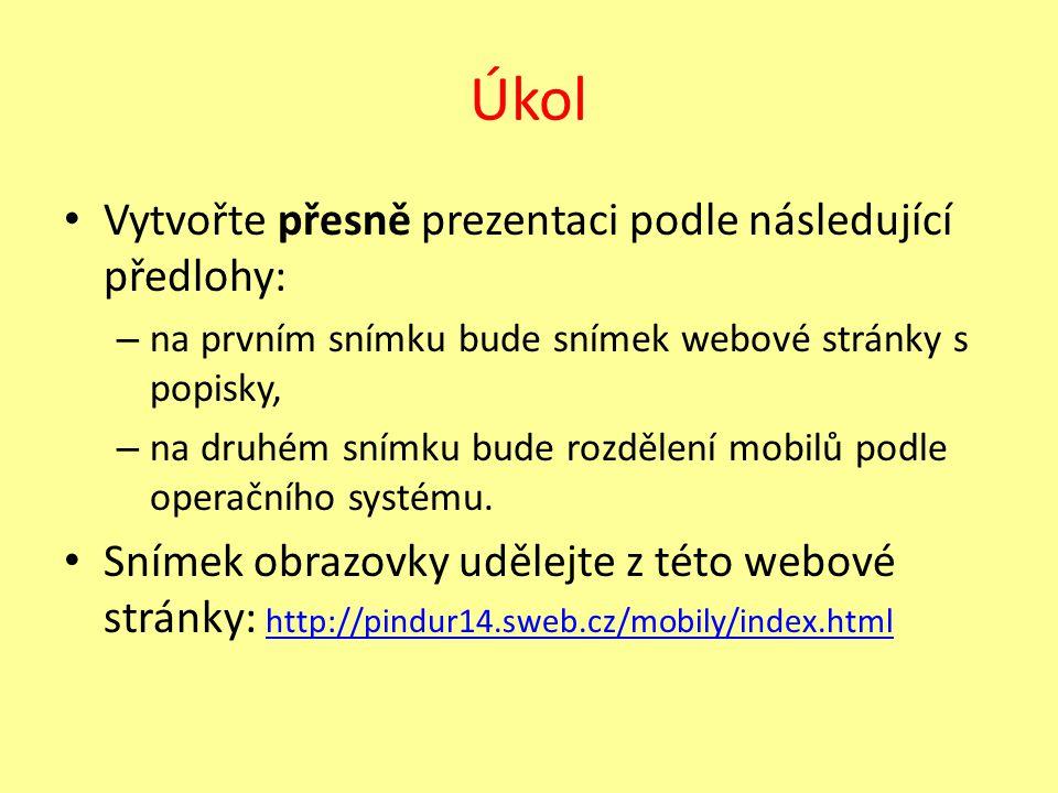 Úkol Vytvořte přesně prezentaci podle následující předlohy: – na prvním snímku bude snímek webové stránky s popisky, – na druhém snímku bude rozdělení mobilů podle operačního systému.
