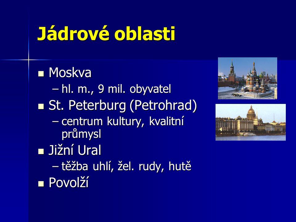 Jádrové oblasti Moskva Moskva –hl. m., 9 mil. obyvatel St. Peterburg (Petrohrad) St. Peterburg (Petrohrad) –centrum kultury, kvalitní průmysl Jižní Ur