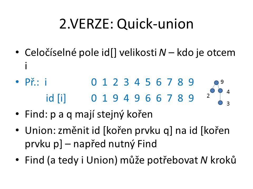 2.VERZE: Quick-union Celočíselné pole id[] velikosti N – kdo je otcem i Př.: i 0 1 2 3 4 5 6 7 8 9 id [i]0 1 9 4 9 6 6 7 8 9 Find: p a q mají stejný kořen Union: změnit id [kořen prvku q] na id [kořen prvku p] – napřed nutný Find Find (a tedy i Union) může potřebovat N kroků 9 4 3 2
