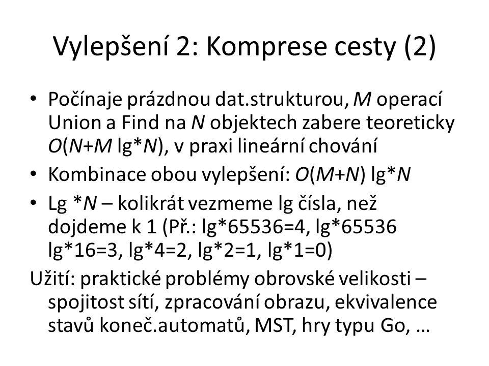 Vylepšení 2: Komprese cesty (2) Počínaje prázdnou dat.strukturou, M operací Union a Find na N objektech zabere teoreticky O(N+M lg*N), v praxi lineární chování Kombinace obou vylepšení: O(M+N) lg*N Lg *N – kolikrát vezmeme lg čísla, než dojdeme k 1 (Př.: lg*65536=4, lg*65536 lg*16=3, lg*4=2, lg*2=1, lg*1=0) Užití: praktické problémy obrovské velikosti – spojitost sítí, zpracování obrazu, ekvivalence stavů koneč.automatů, MST, hry typu Go, …