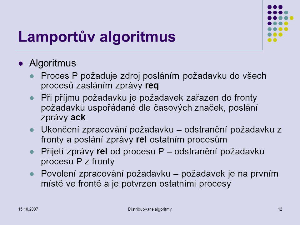 15.10.2007Distribuované algoritmy12 Lamportův algoritmus Algoritmus Proces P požaduje zdroj posláním požadavku do všech procesů zasláním zprávy req Při příjmu požadavku je požadavek zařazen do fronty požadavků uspořádané dle časových značek, poslání zprávy ack Ukončení zpracování požadavku – odstranění požadavku z fronty a poslání zprávy rel ostatním procesům Přijetí zprávy rel od procesu P – odstranění požadavku procesu P z fronty Povolení zpracování požadavku – požadavek je na prvním místě ve frontě a je potvrzen ostatními procesy