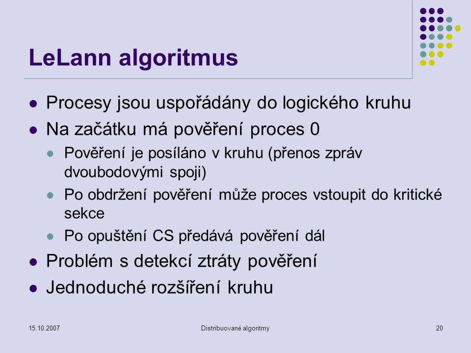 15.10.2007Distribuované algoritmy20 LeLann algoritmus Procesy jsou uspořádány do logického kruhu Na začátku má pověření proces 0 Pověření je posíláno v kruhu (přenos zpráv dvoubodovými spoji) Po obdržení pověření může proces vstoupit do kritické sekce Po opuštění CS předává pověření dál Problém s detekcí ztráty pověření Jednoduché rozšíření kruhu