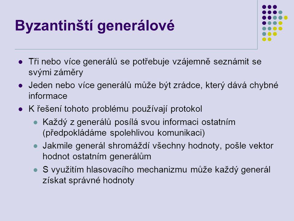 Byzantinští generálové Tři nebo více generálů se potřebuje vzájemně seznámit se svými záměry Jeden nebo více generálů může být zrádce, který dává chybné informace K řešení tohoto problému používají protokol Každý z generálů posílá svou informaci ostatním (předpokládáme spolehlivou komunikaci) Jakmile generál shromáždí všechny hodnoty, pošle vektor hodnot ostatním generálům S využitím hlasovacího mechanizmu může každý generál získat správné hodnoty