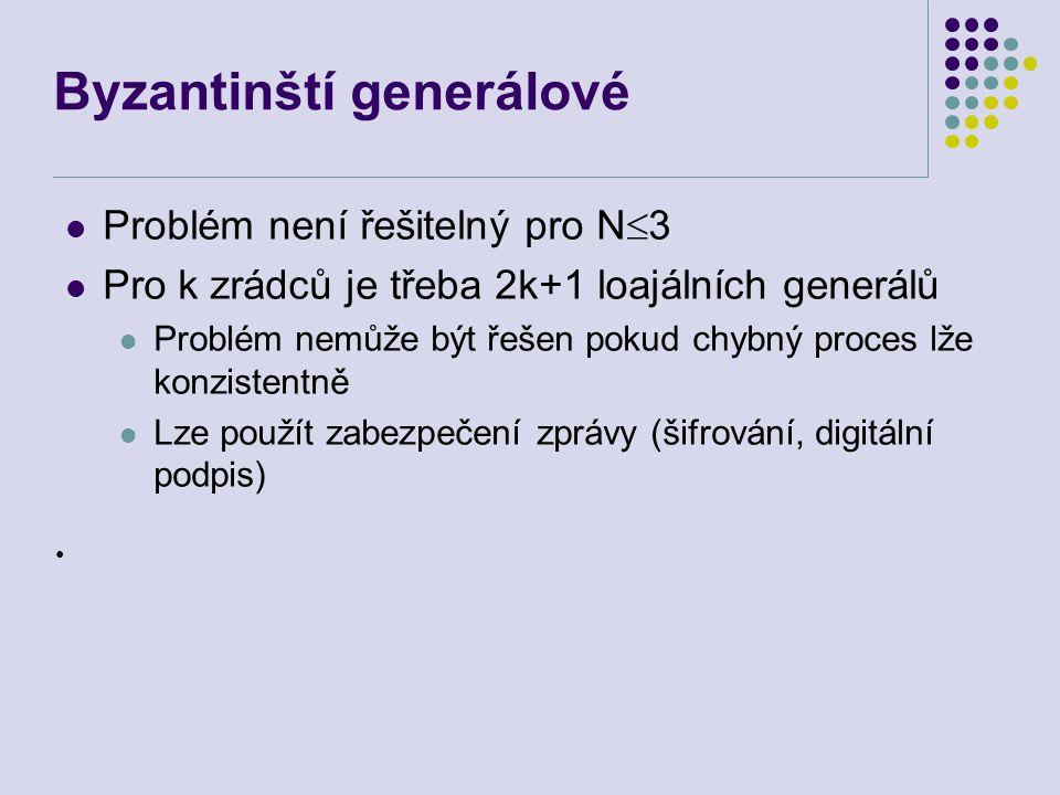 Byzantinští generálové Problém není řešitelný pro N  3 Pro k zrádců je třeba 2k+1 loajálních generálů Problém nemůže být řešen pokud chybný proces lže konzistentně Lze použít zabezpečení zprávy (šifrování, digitální podpis) ●