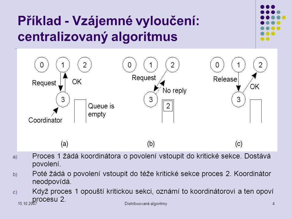 15.10.2007Distribuované algoritmy4 Příklad - Vzájemné vyloučení: centralizovaný algoritmus a) Proces 1 žádá koordinátora o povolení vstoupit do kritické sekce.