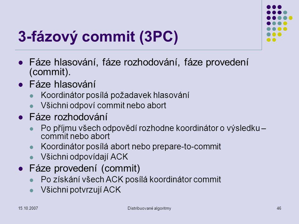 15.10.2007Distribuované algoritmy46 3-fázový commit (3PC) Fáze hlasování, fáze rozhodování, fáze provedení (commit).