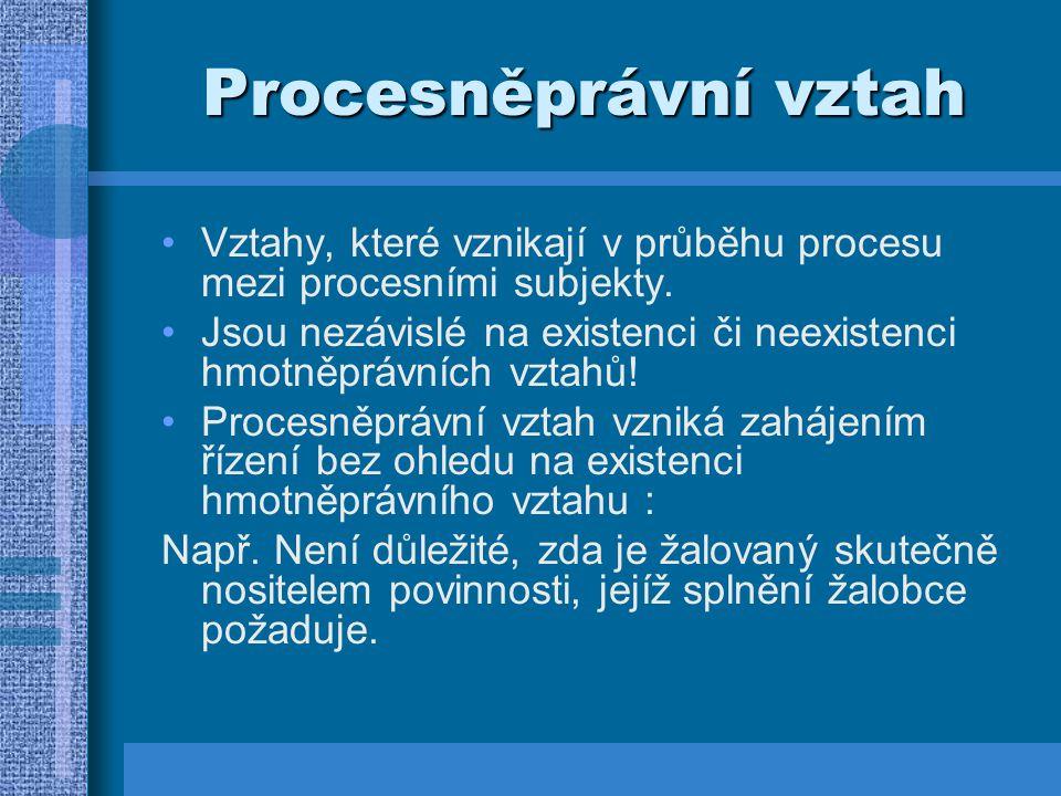 Procesněprávní vztah Vztahy, které vznikají v průběhu procesu mezi procesními subjekty. Jsou nezávislé na existenci či neexistenci hmotněprávních vzta