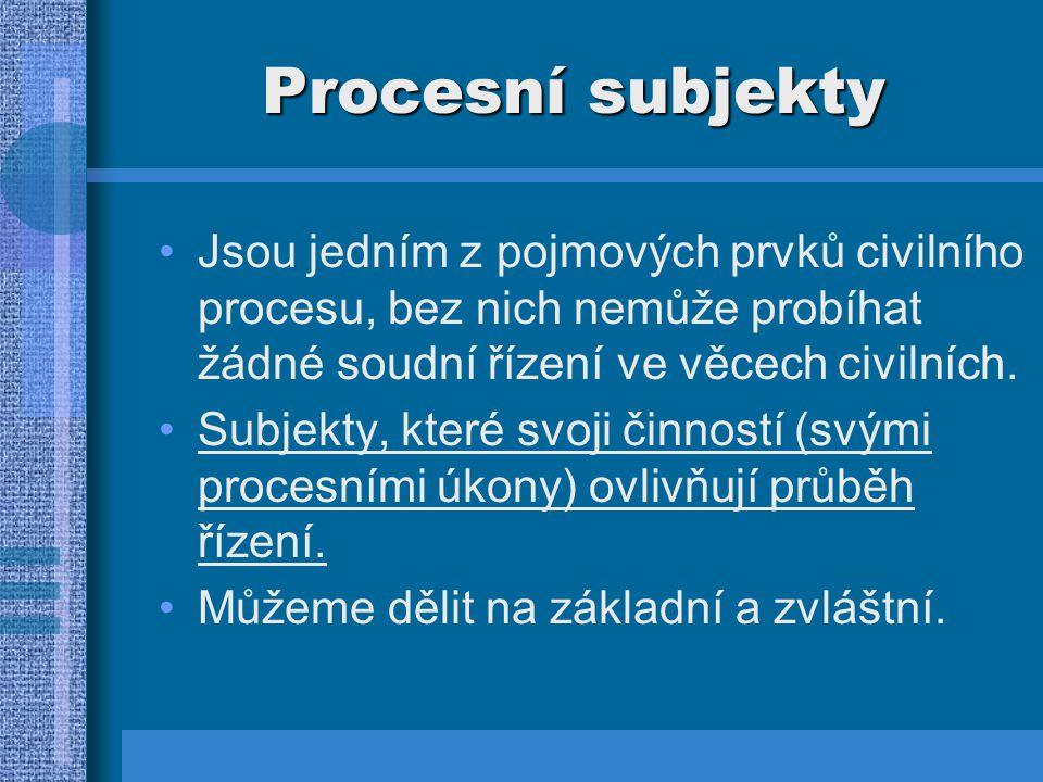 Procesní subjekty - základní 1.Soud:  Plní roli nezúčastněného subjektu, který věc projedná a rozhodne o ní.