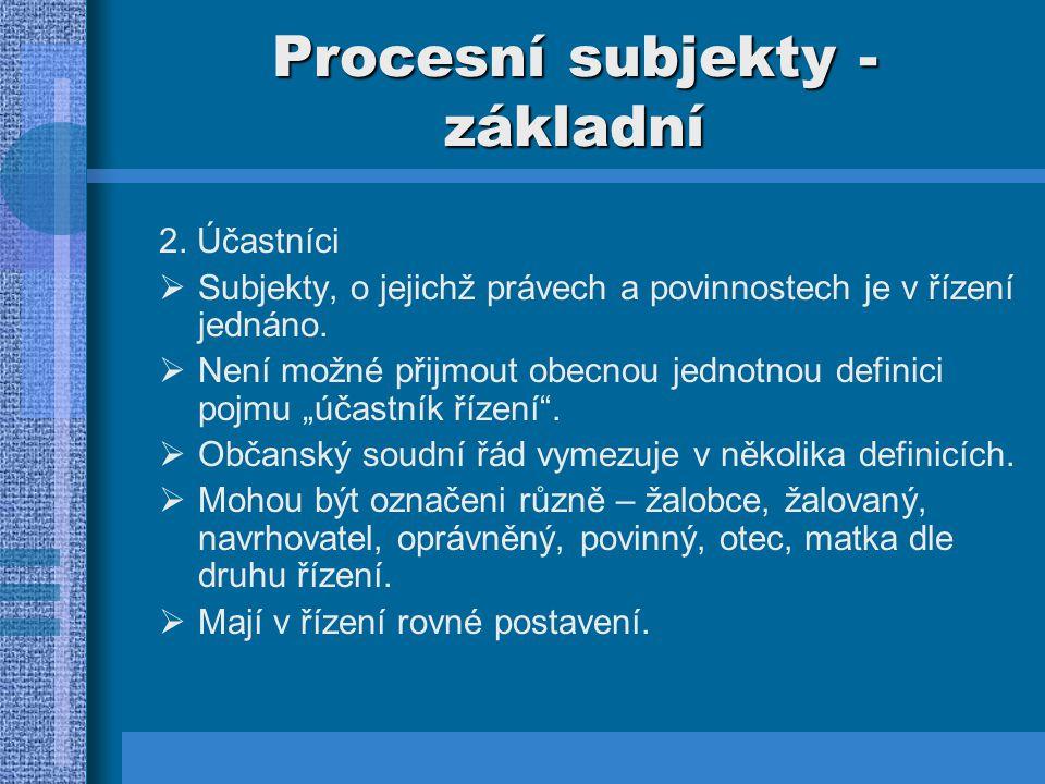 Procesní subjekty - základní 2. Účastníci  Subjekty, o jejichž právech a povinnostech je v řízení jednáno.  Není možné přijmout obecnou jednotnou de