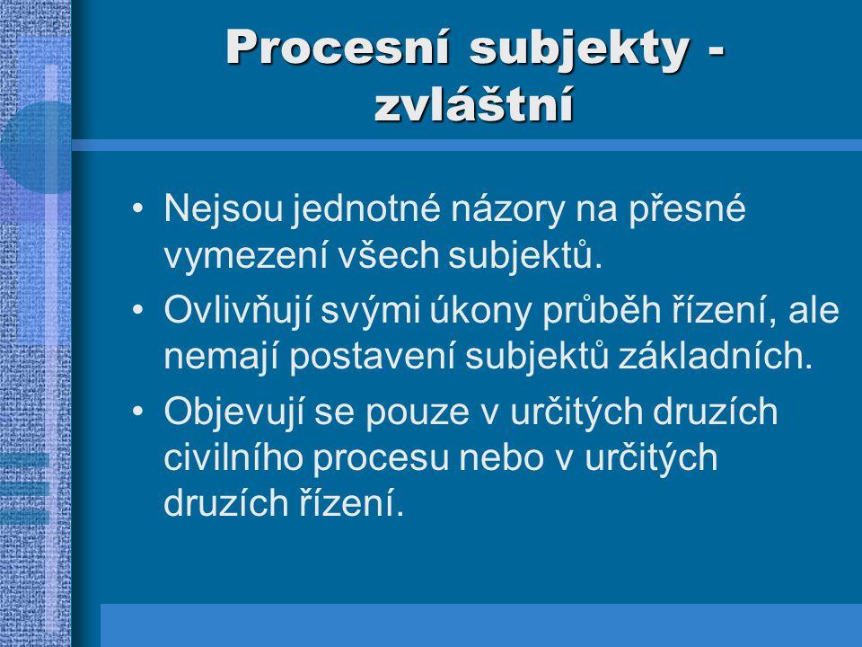 Procesní subjekty – zvláštní 1.Státní zastupitelství:  Organizační složka státu – nemá právní subjektivitu.