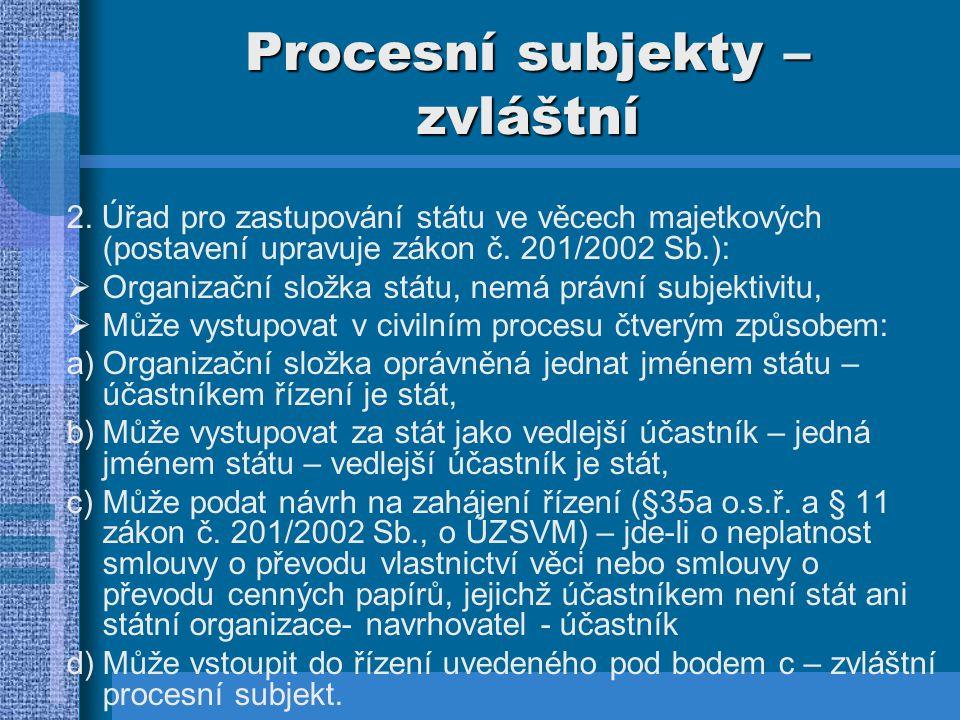 Procesní subjekty - zvláštní 3.