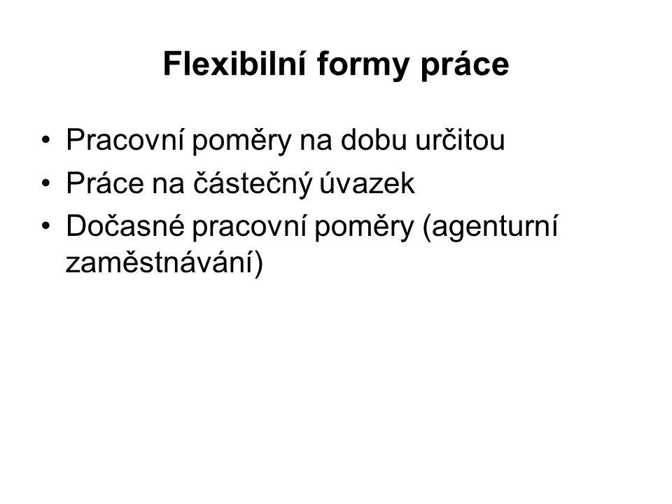 Flexibilní formy práce Pracovní poměry na dobu určitou Práce na částečný úvazek Dočasné pracovní poměry (agenturní zaměstnávání)