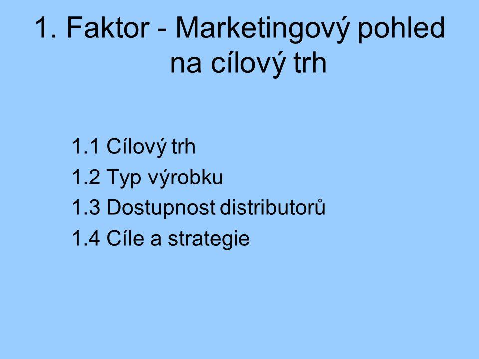 1. Faktor - Marketingový pohled na cílový trh 1.1 Cílový trh 1.2 Typ výrobku 1.3 Dostupnost distributorů 1.4 Cíle a strategie
