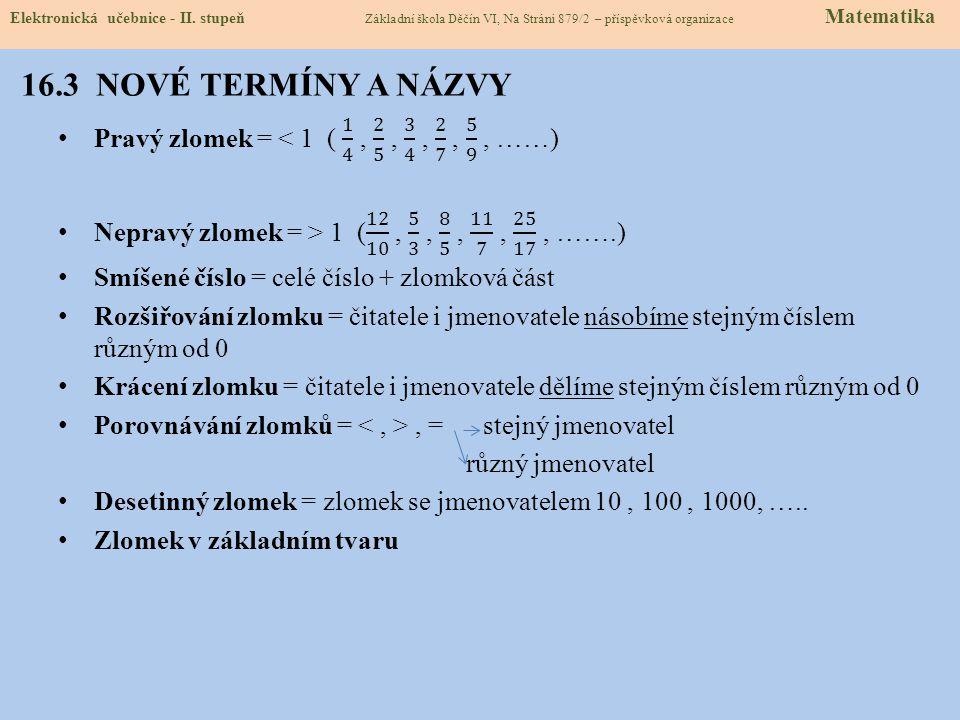 16.3 NOVÉ TERMÍNY A NÁZVY Elektronická učebnice - II.