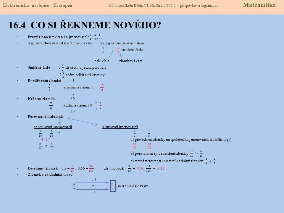 16.4 CO SI ŘEKNEME NOVÉHO. Elektronická učebnice - II.