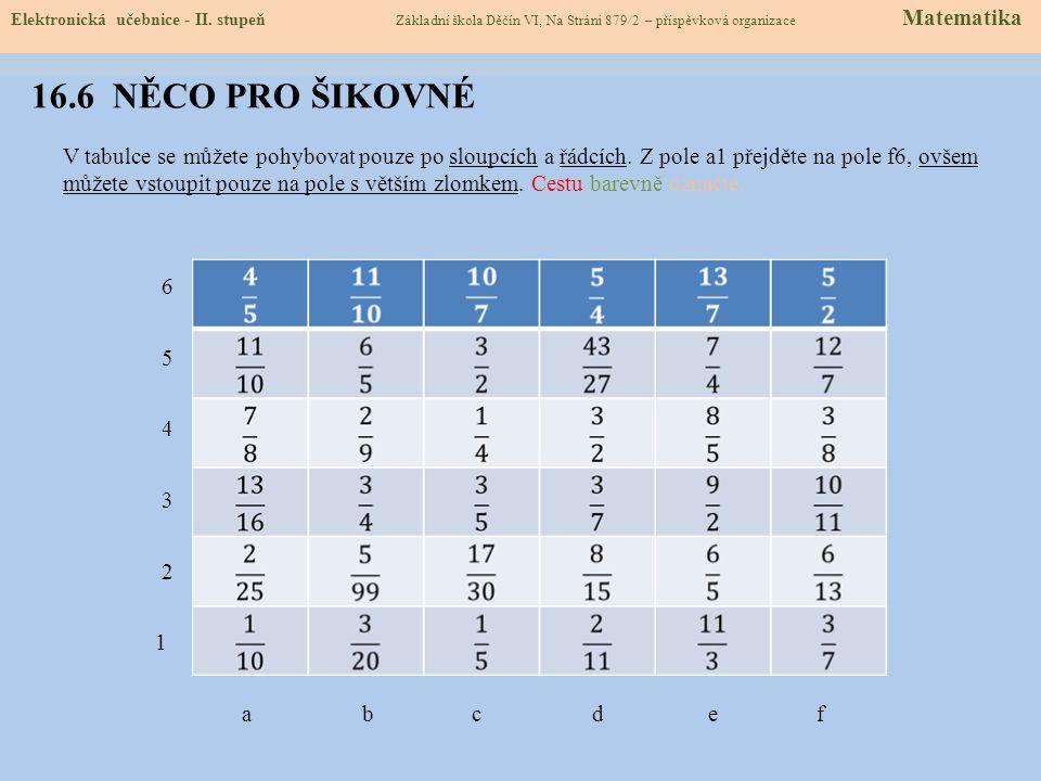 16.6 NĚCO PRO ŠIKOVNÉ V tabulce se můžete pohybovat pouze po sloupcích a řádcích.