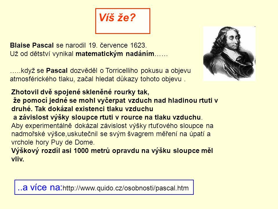 Víš že.Blaise Pascal se narodil 19. července 1623.