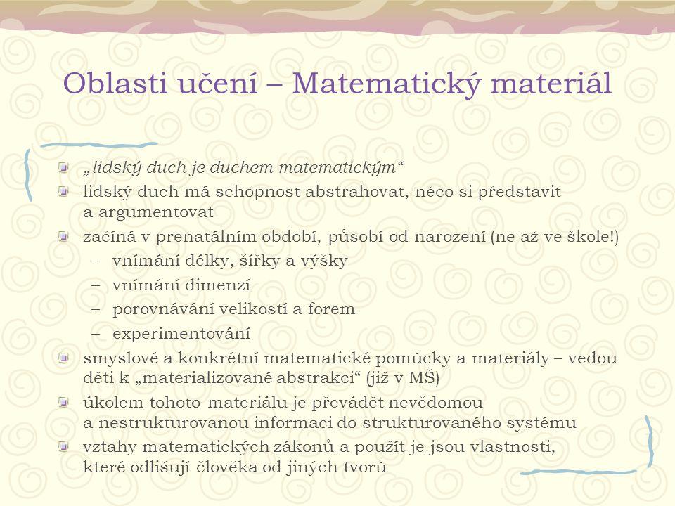 """Oblasti učení – Matematický materiál """"lidský duch je duchem matematickým"""" lidský duch má schopnost abstrahovat, něco si představit a argumentovat začí"""