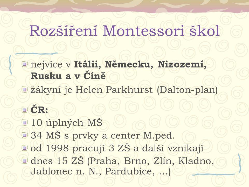 Rozšíření Montessori škol nejvíce v Itálii, Německu, Nizozemí, Rusku a v Číně žákyní je Helen Parkhurst (Dalton-plan) ČR: 10 úplných MŠ 34 MŠ s prvky