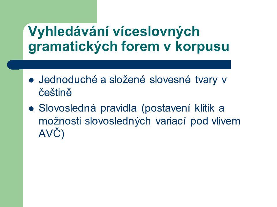Vyhledávání víceslovných gramatických forem v korpusu Jednoduché a složené slovesné tvary v češtině Slovosledná pravidla (postavení klitik a možnosti slovosledných variací pod vlivem AVČ)
