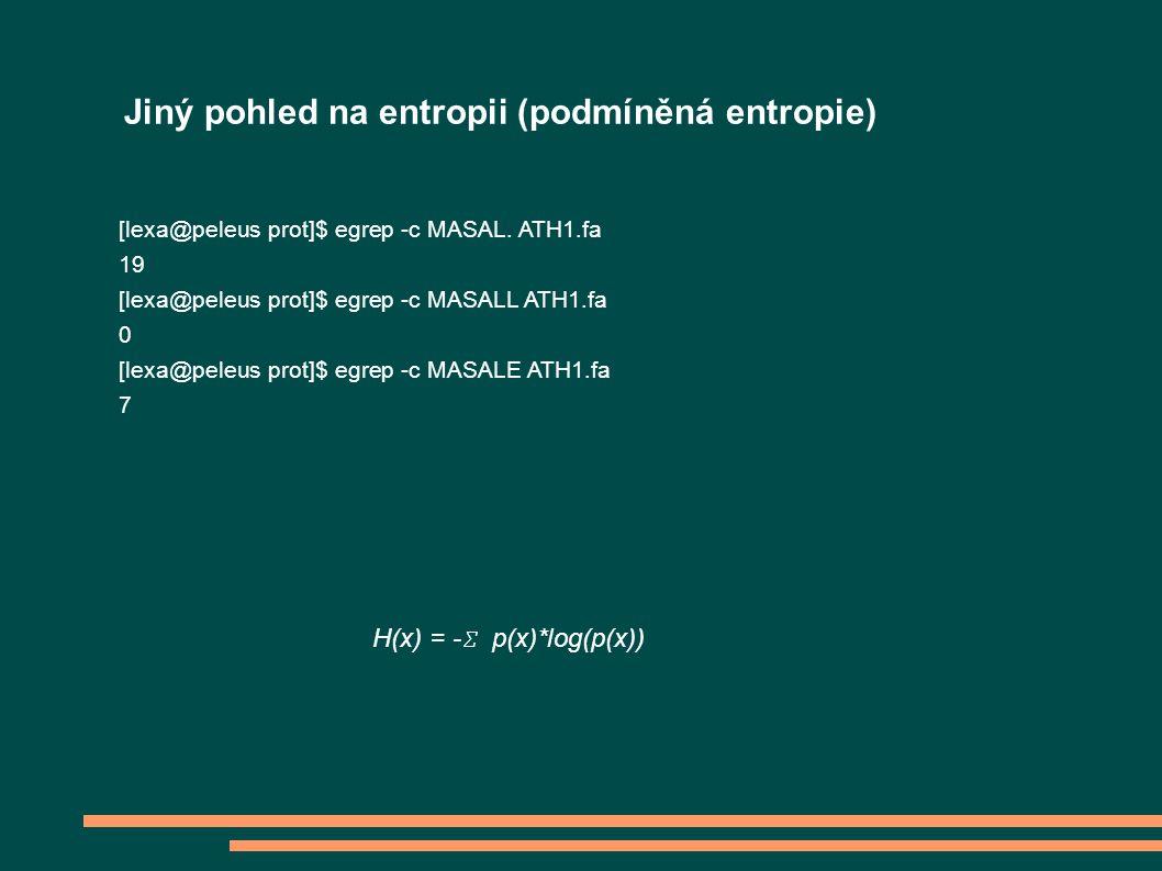 Jiný pohled na entropii (podmíněná entropie) [lexa@peleus prot]$ egrep -c MASAL. ATH1.fa 19 [lexa@peleus prot]$ egrep -c MASALL ATH1.fa 0 [lexa@peleus