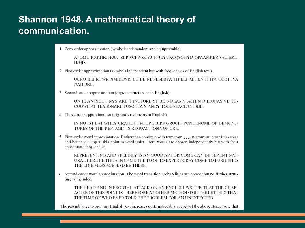 Shannon 1948. A mathematical theory of communication.