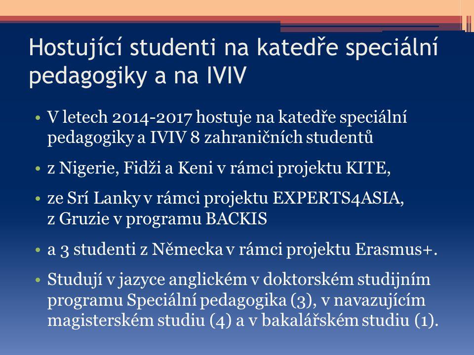 Hostující studenti na katedře speciální pedagogiky a na IVIV V letech 2014-2017 hostuje na katedře speciální pedagogiky a IVIV 8 zahraničních studentů