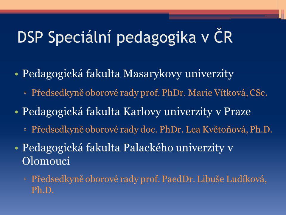 DSP Speciální pedagogika v ČR Pedagogická fakulta Masarykovy univerzity ▫Předsedkyně oborové rady prof. PhDr. Marie Vítková, CSc. Pedagogická fakulta