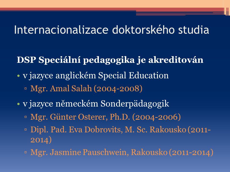 Internacionalizace doktorského studia DSP Speciální pedagogika je akreditován v jazyce anglickém Special Education ▫Mgr. Amal Salah (2004-2008) v jazy