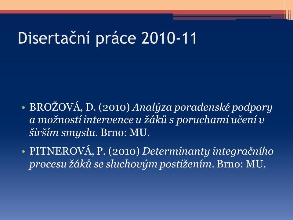 Disertační práce 2010-11 BROŽOVÁ, D. (2010) Analýza poradenské podpory a možností intervence u žáků s poruchami učení v širším smyslu. Brno: MU. PITNE