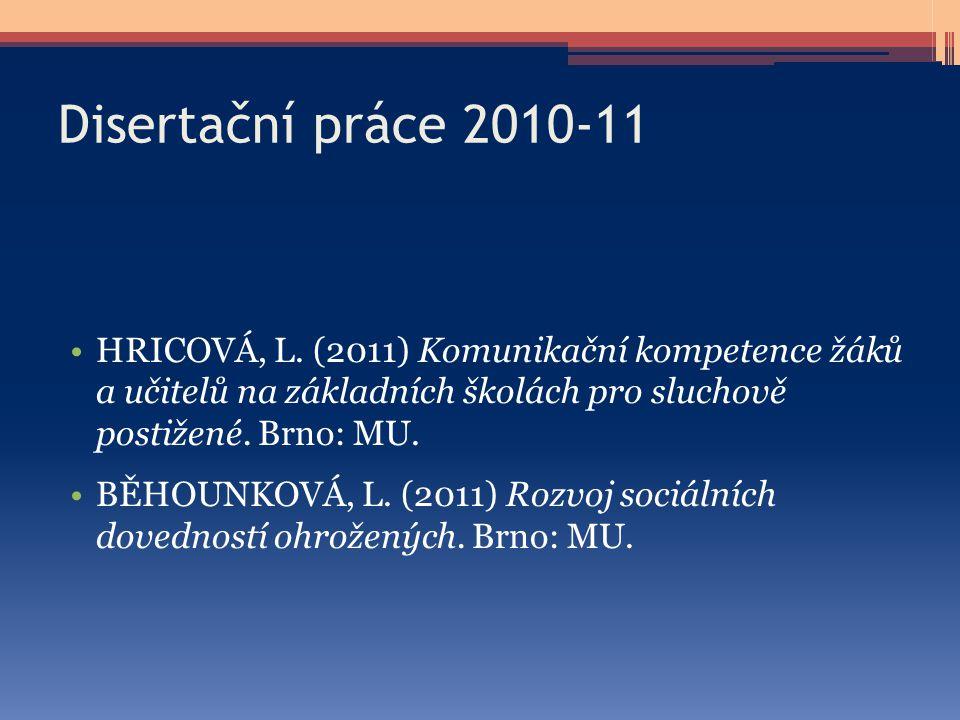 Disertační práce 2010-11 HRICOVÁ, L. (2011) Komunikační kompetence žáků a učitelů na základních školách pro sluchově postižené. Brno: MU. BĚHOUNKOVÁ,