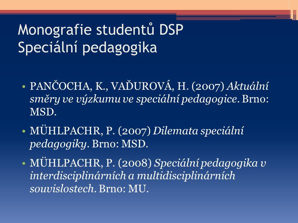 Monografie studentů DSP Speciální pedagogika PANČOCHA, K., VAĎUROVÁ, H. (2007) Aktuální směry ve výzkumu ve speciální pedagogice. Brno: MSD. MÜHLPACHR