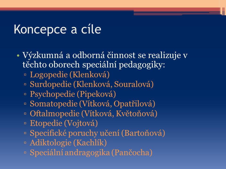 Koncepce a cíle Výzkumná a odborná činnost se realizuje v těchto oborech speciální pedagogiky: ▫Logopedie (Klenková) ▫Surdopedie (Klenková, Souralová)