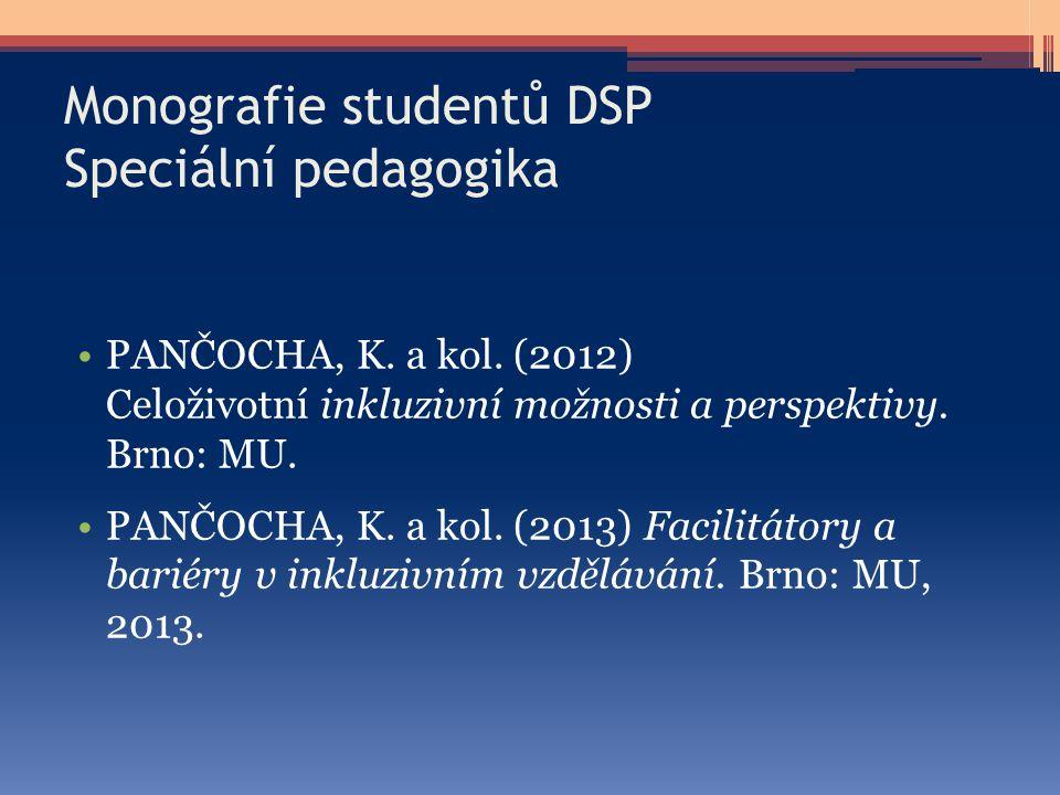 Monografie studentů DSP Speciální pedagogika PANČOCHA, K. a kol. (2012) Celoživotní inkluzivní možnosti a perspektivy. Brno: MU. PANČOCHA, K. a kol. (