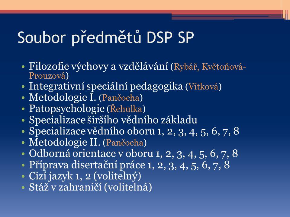 Soubor předmětů DSP SP Filozofie výchovy a vzdělávání (Rybář, Květoňová- Prouzová) Integrativní speciální pedagogika (Vítková) Metodologie I. (Pančoch
