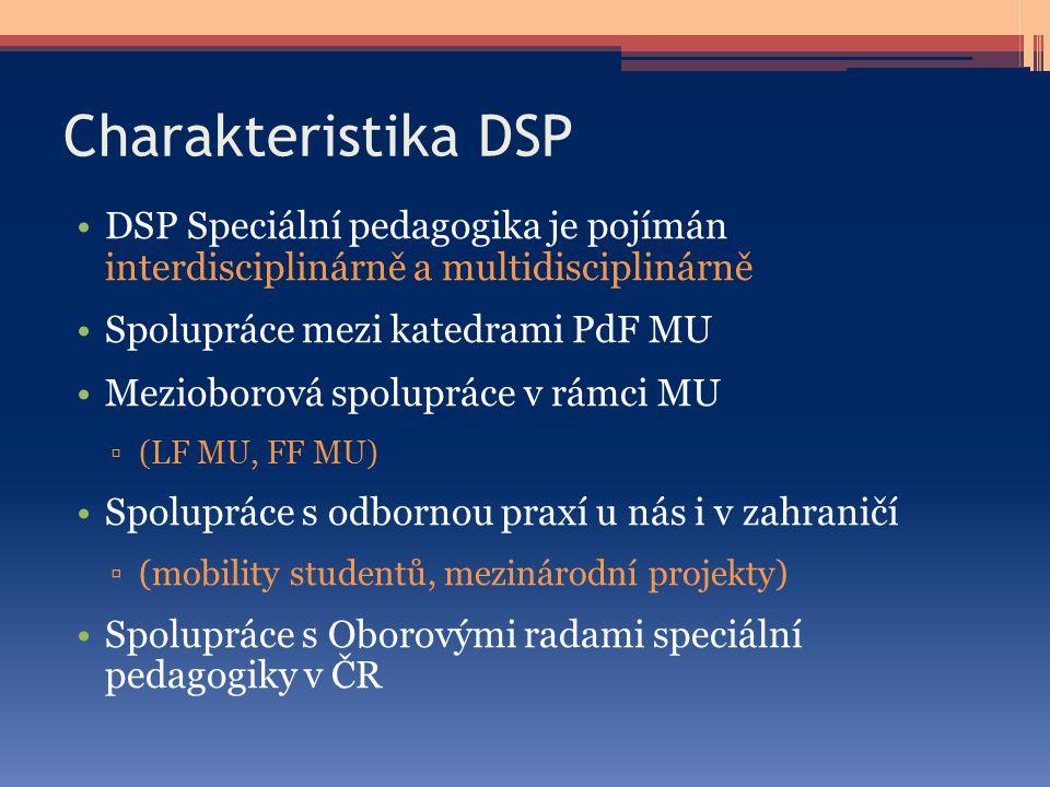 Charakteristika DSP DSP Speciální pedagogika je pojímán interdisciplinárně a multidisciplinárně Spolupráce mezi katedrami PdF MU Mezioborová spoluprác