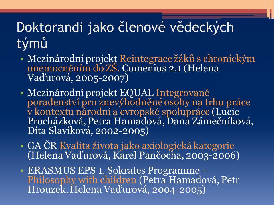 Doktorandi jako členové vědeckých týmů Mezinárodní projekt Reintegrace žáků s chronickým onemocněním do ZŠ. Comenius 2.1 (Helena Vaďurová, 2005-2007)