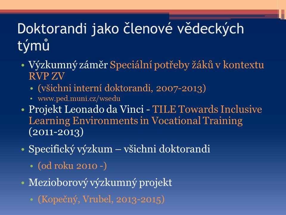 Doktorandi jako členové vědeckých týmů Výzkumný záměr Speciální potřeby žáků v kontextu RVP ZV (všichni interní doktorandi, 2007-2013) www.ped.muni.cz