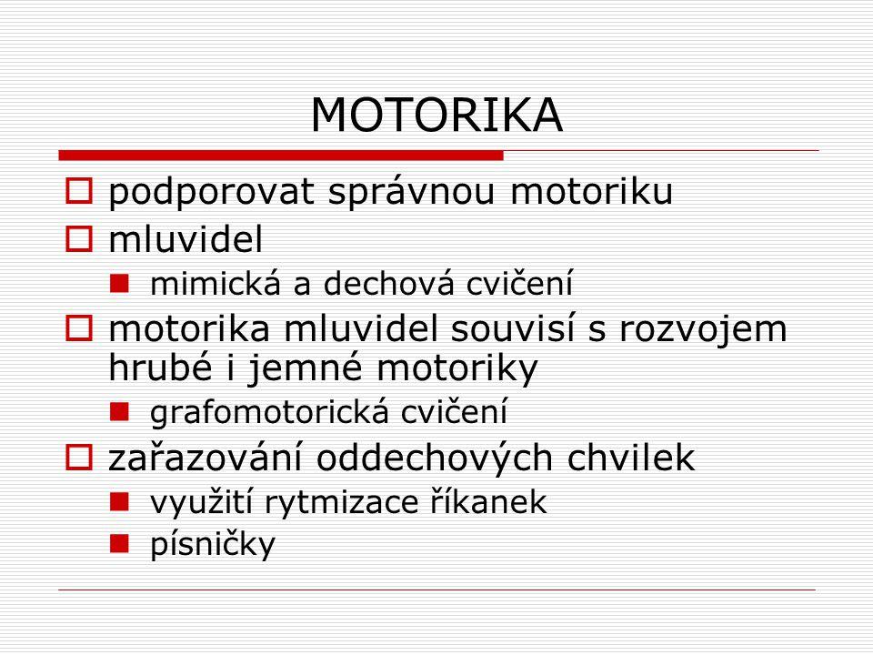 MOTORIKA  podporovat správnou motoriku  mluvidel mimická a dechová cvičení  motorika mluvidel souvisí s rozvojem hrubé i jemné motoriky grafomotori