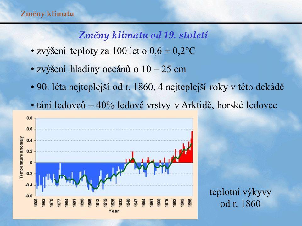 Změny klimatu Změny klimatu od 19. století zvýšení teploty za 100 let o 0,6 ± 0,2°C zvýšení hladiny oceánů o 10 – 25 cm 90. léta nejteplejší od r. 186