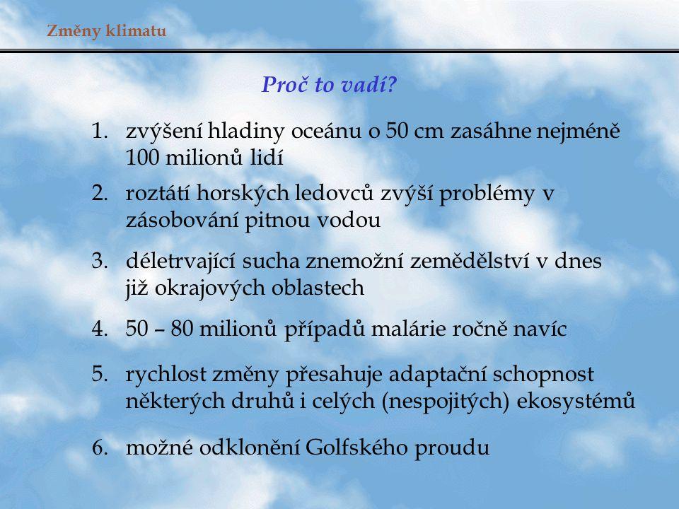 Změny klimatu Odezva 1.Intergovernmental Panel on Climate Change (IPCC) pod patronací U.N.